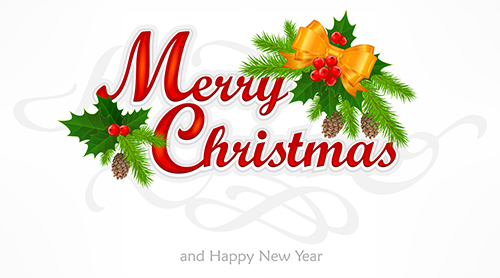 Merry Christmas hand lettering inscription with branch, vector illustration